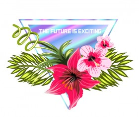 Tropical flowers with triangle vector material 04