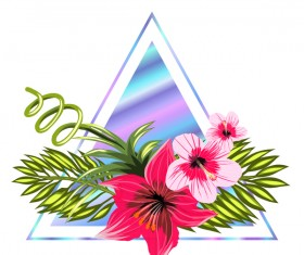 Tropical flowers with triangle vector material 05