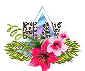 Tropical flowers with triangle vector material 06