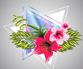 Tropical flowers with triangle vector material 07