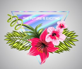 Tropical flowers with triangle vector material 08