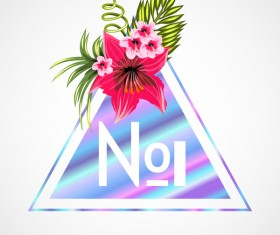 Tropical flowers with triangle vector material 09
