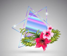 Tropical flowers with triangle vector material 10