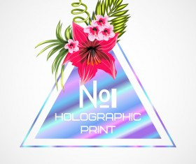 Tropical flowers with triangle vector material 12