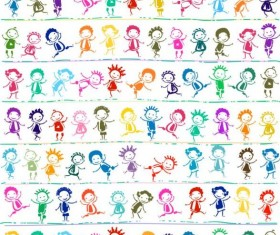 Vector happy children seamless pattern material 03