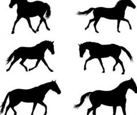 Vector horse silhouette set 01