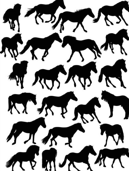 Vector horse silhouette set 02