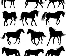 Vector horses silhouette set 01