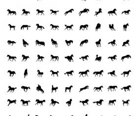 Vector horses silhouette set 02