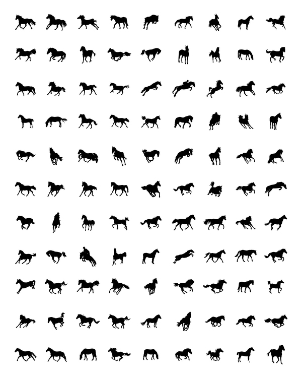 Vector horses silhouette set 02