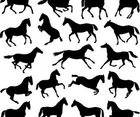 Vector horses silhouette set 04