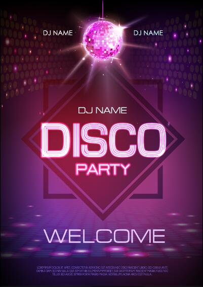 Vector Night Club Disco Party Poster Template 05 Free Download