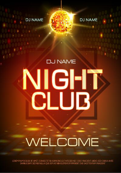 Vector night club disco party poster template 06