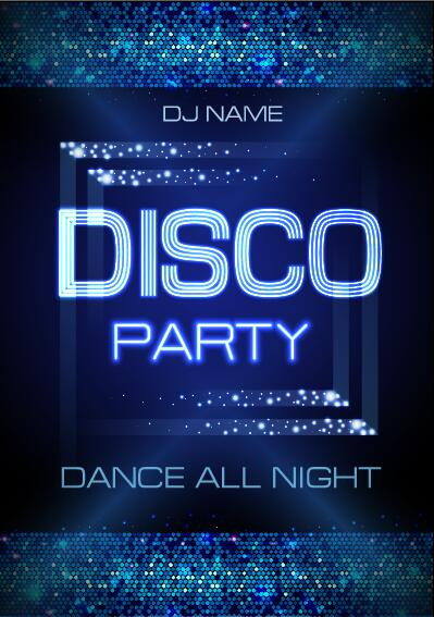 Vector night club disco party poster template 07