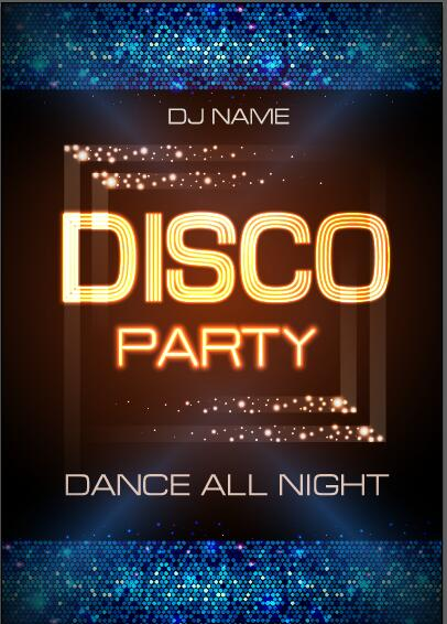 Vector night club disco party poster template 08