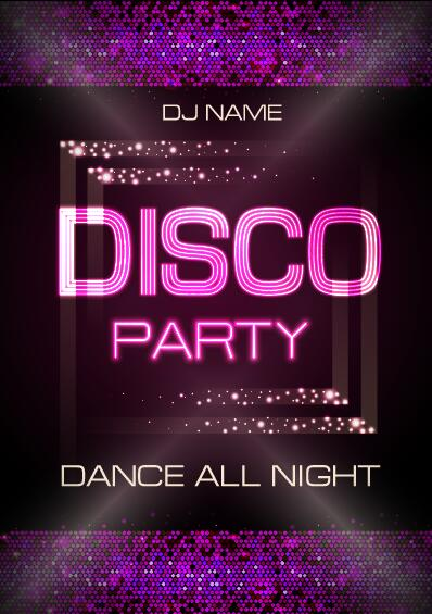 Vector night club disco party poster template 10