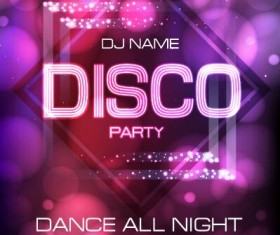 Vector night club disco party poster template 12
