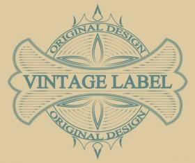 Vintage antique decorative labels vector 04