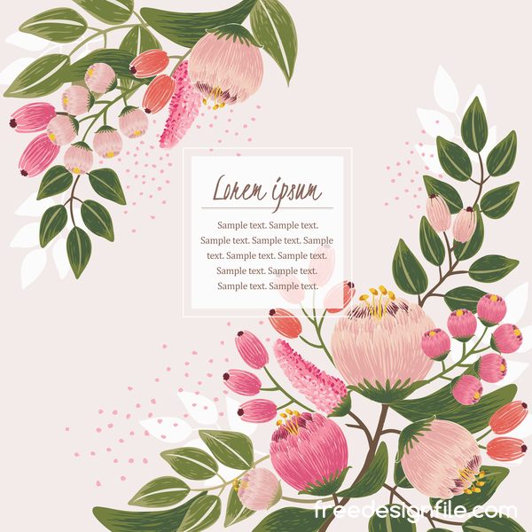 Vintage flower with greeting card for your text design vector 01