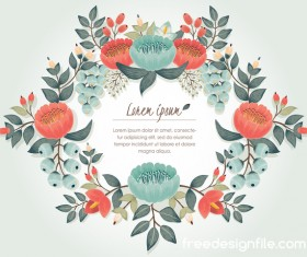 Vintage flower with greeting card for your text design vector 02