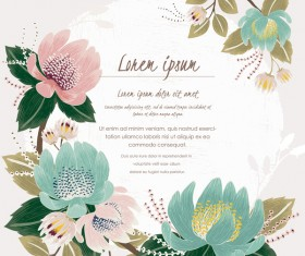 Vintage flower with greeting card for your text design vector 03