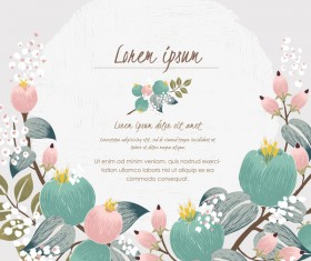 Vintage flower with greeting card for your text design vector 04