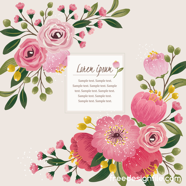 Vintage flower with greeting card for your text design vector 05