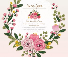 Vintage flower with greeting card for your text design vector 06