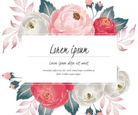 Vintage flower with greeting card for your text design vector 09