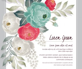 Vintage flower with greeting card for your text design vector 10