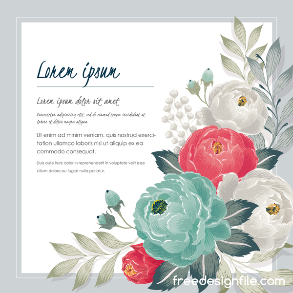 Vintage flower with greeting card for your text design vector 11
