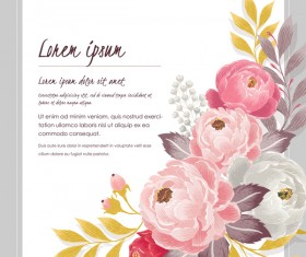 Vintage flower with greeting card for your text design vector 12