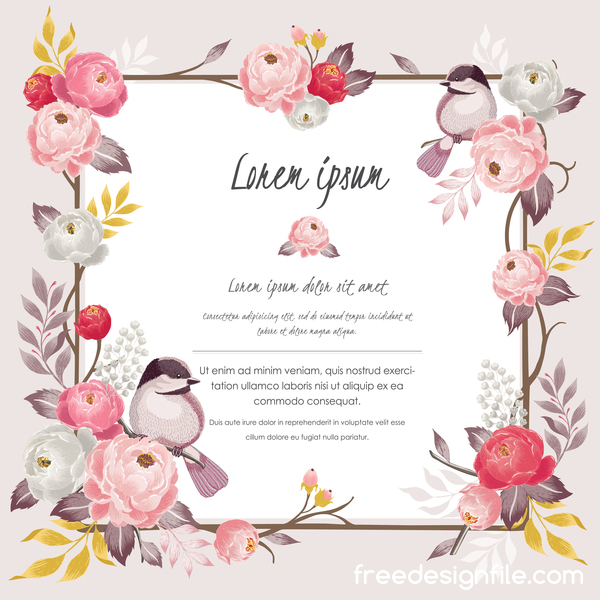 Vintage flower with greeting card for your text design vector 13