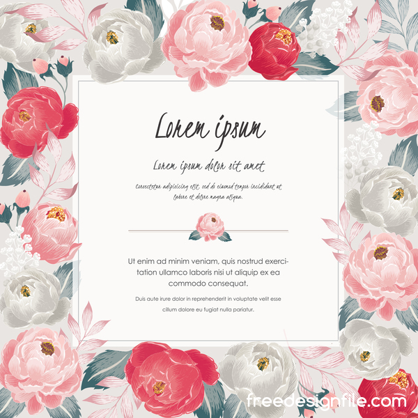 Vintage flower with greeting card for your text design vector 14