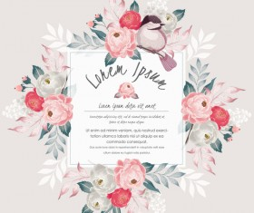 Vintage flower with greeting card for your text design vector 15