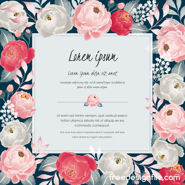 Vintage flower with greeting card for your text design vector 16