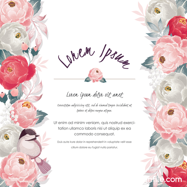Vintage flower with greeting card for your text design vector 17
