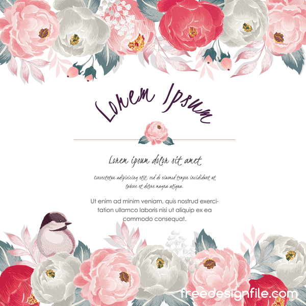 Vintage flower with greeting card for your text design vector 18