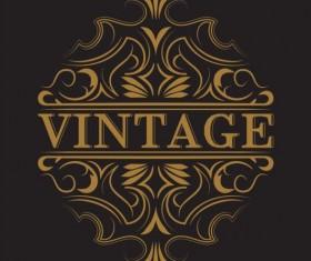 Vintage labels with black blackground vector 01