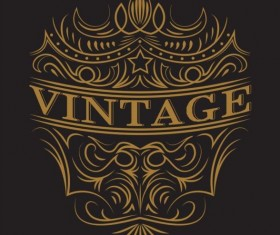 Vintage labels with black blackground vector 02