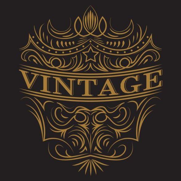 Vintage labels with black blackground vector 02