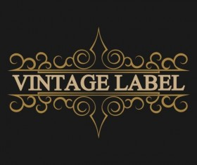 Vintage labels with black blackground vector 03