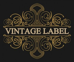Vintage labels with black blackground vector 04