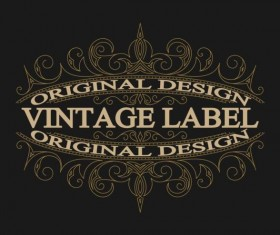 Vintage labels with black blackground vector 05
