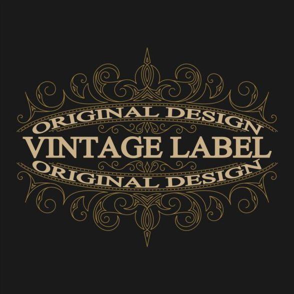 Vintage labels with black blackground vector 05