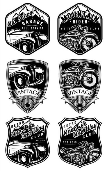 Vintage motorcycle with car labels vector