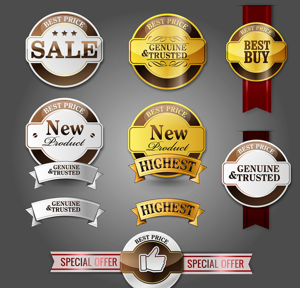 Vintage sale labels with sticker vector