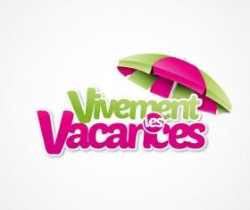 Vivement vacances with beach umbrella illustration vector 01