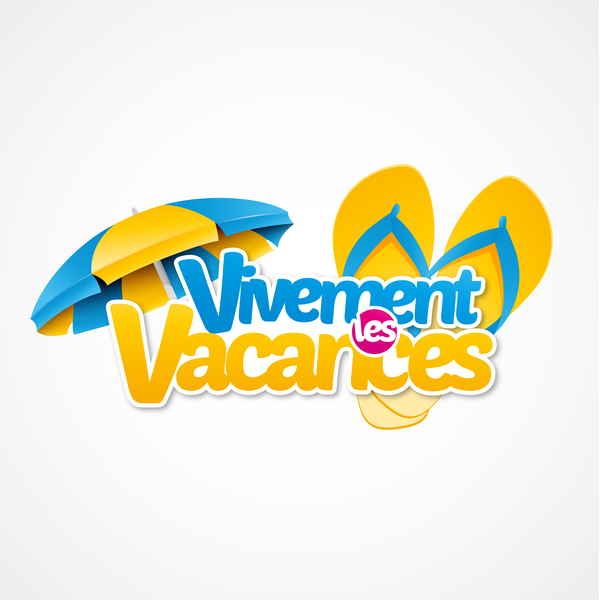 Vivement vacances with beach umbrella illustration vector 02