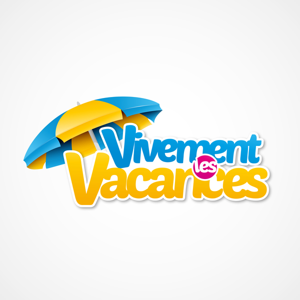 Vivement vacances with beach umbrella illustration vector 03